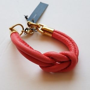 Coral Leather Knot Bracelet